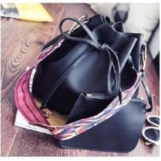 Promo Bucket Bag Tribal Strap Draw String Bucket Bag Shoulder Bag Black