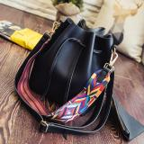 Best Bucket Drawstring Shoulder Bag With Solid Fancy Strap Black