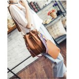Discount Bucket Drawstring Shoulder Bag With Solid Fancy Strap Brown Bob Alice