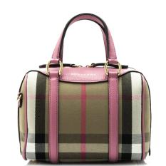 62682bb0dba7 Burberry House Check Derby Leather Small Alchester Bowling Bag (Mauve Pink)