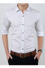 Cheapest Business Men Long Sleeve Purified Cotton Shirt Slim Ventilation Polka Dot Shirt White Intl