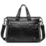 Where To Shop For Business Men Shoulder Bag Messenger Bag Laptop Computer Oil Wax Cowhide Leather Briefcase Men S Tote Handbag Middle Size Black