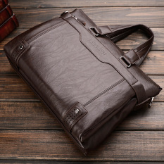 Business Men Shoulder Bag Messenger Bag Laptop Computer Oil Wax Cowhide Leather Briefcase Men S Tote Handbag Middle Size Coffee On China