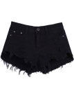For Sale Buttons Ripped Fringe Denim Shorts Black
