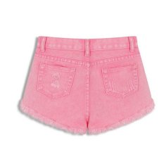 Low Price Buttons Ripped Fringe Denim Shorts Pink Export