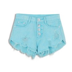 Buttons Ripped Fringe Denim Shorts Sky Blue Export Coupon