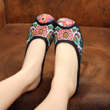 Sale Old Beijing Gum Outsole Elevator Cool Butuo Low Heeled Slippers Sunflower Flower Black Sunflower Flower Black Oem Online
