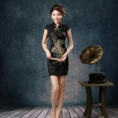 Great Deal Buyincoins Traditional Vintage Chinese Women Satin Short Sleeve Slim Cheongsam Qipao Dress