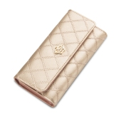 Latest Byt Baellery Long Lattice Pattern Women Leather Trifold Wallet Handbag With Crown Hg3Z 1 Gold