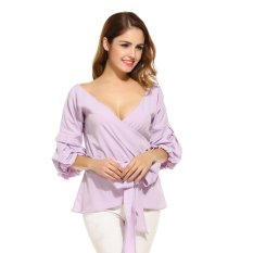 Sale C1S Crossing V Neck Lantern Sleeve Solid Blouse Shirt Tops Purple Intl China