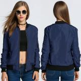 Buy C1S Zip Up Solid Bomber Jacket With Pockets Navy Blue Intl Cheap China