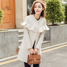 Compare Prices For Caidaifei Korean Style Female Mid Length Slimming It Coat Woolen Coat Beige