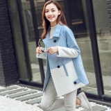 Best Price Caidaifei Korean Style Plus Sized Slim Fit Mid Length It Coat Woolen Coat Light Blue