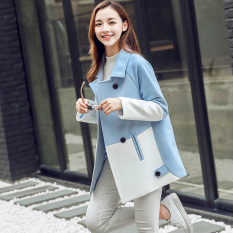 Caidaifei Korean Style Plus Sized Slim Fit Mid Length It Coat Woolen Coat Light Blue Free Shipping