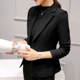Buy Women S Korean Style Slim Fit Suit Blazer Black Black Online