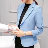 How Do I Get Women S Korean Style Slim Fit Suit Blazer Light Blue Light Blue