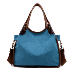 Top Rated Can Burley Korean Style Plain Weave Handbag Shoulder Bag Women Retro Casual Big Bag Shoulder Messenger Portable Canvas Bag Tide Blue