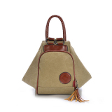 Sale Canvas Handbag Shoulder Bag Multifunction Backpack Women Bag Khaki Singapore Cheap