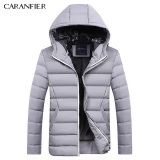 Sale Caranfier Men S Fashion Casual Hooded Down Cotton Jacket Gray Gray