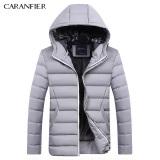 Caranfier Men S Fashion Casual Hooded Down Cotton Jacket Gray Gray Shop