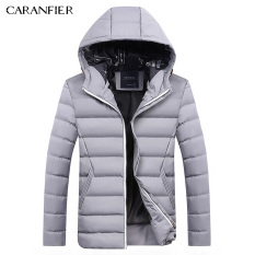 Caranfier Men S Fashion Casual Hooded Down Cotton Jacket Gray Gray Online