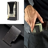 Great Deal Carbon Fiber Slim Wallet Front Pocket Wallet Money Clip Minimalist Wallet Rfid Blocking Intl
