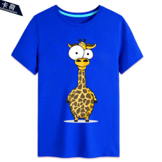 Men And Women Card Charge Ostrich Zebra 15 Short Sleeved Bottoming Shirt T Shirt Blue 3 Blue 3 On China