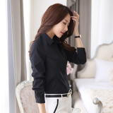 Star Magnolia Korean Style Cotton Black Slim Fit Top Black Shirt In Stock
