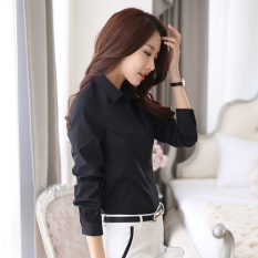 Price Star Magnolia Korean Style Cotton Black Slim Fit Top Black Shirt On China
