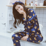Review Women S Korean Style Bear Print Long Sleeve Silk Home Sleepwear China