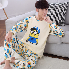 Discount Cartoon Spring And Autumn Long Sleeved Cotton Teenager Home Clothes Men S Pajamas 378 Small Yellow People