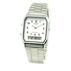 Buy Casio Vintage Series Standard Analog Digital Silver Stainless Steel Band Watch Aq230A 7B Aq 230A 7B