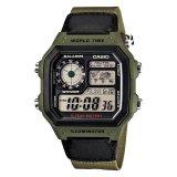 Compare Casio Men S Standard Digital Green Resin Band Watch Ae1200Whb 3B Ae 1200Whb 3B