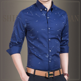 Best Rated Men S Casual Autumn New Business Men Long Sleeve Shirt Printed Shirts Navy Navy
