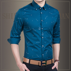 Buy Men S Casual Autumn New Business Men Long Sleeve Shirt Printed Shirts Peacock Blue Peacock Blue China