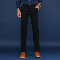 Low Cost Casual Business Men Straight Cotton Pant Slim Male Trousers Intl