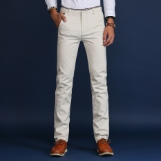Where To Shop For Casual Business Men Straight Cotton Pant Slim Male Trousers Intl