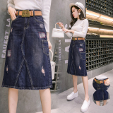 Brand New Casual Cowboy Mid Length Autumn Midi Skirt Skirt