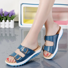 Review Casual Leather Outdoor Women S Sandals And Slippers Shoes Sandals Blue Oem