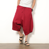 Casual Linen Black Plus Sized Harlan Pants Men Shorts Wine Red Color China