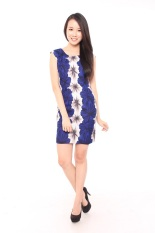 Casual Liz Flower Meadow Sleeveless Sheath Dress White Blue Reviews