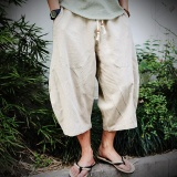 Shop For Casual Loose Wide Leg Cropped Men Pants Thin Cotton Linen Plus Size Elasticated Male Trousers Solid Color Summer Pants Beige White Intl