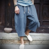 Brand New Casual Loose Wide Leg Cropped Men Pants Thin Cotton Linen Plus Size Elasticated Male Trousers Solid Color Summer Pants Blue Grey Intl