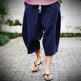 Sales Price Casual Loose Wide Leg Cropped Men Pants Thin Cotton Linen Plus Size Elasticated Male Trousers Solid Color Summer Pants Navy Blue Intl