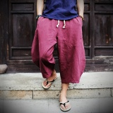 Casual Loose Wide Leg Cropped Men Pants Thin Cotton Linen Plus Size Elasticated Male Trousers Solid Color Summer Pants Wine Red Intl Best Price