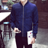 The Cheapest Men S Korean Style Leisure Baseball Jacket Dark Blue Color Dark Blue Color Online