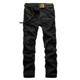 Recent Casual Men Pants Slim Fit Multi Pocket Cargo Trousers No Belt(Black) Intl