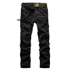 Casual Men Pants Slim Fit Multi Pocket Cargo Trousers No Belt(Black) Intl Price Comparison