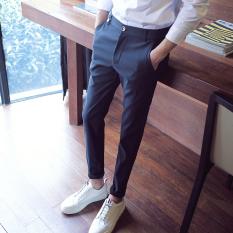 New Casual Men S Slim Fit Skinny Long Pants Trousers Dark Blue Ankle Length Pants