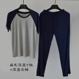 Promo Casual Modal Round Neck Short Sleeved Thin Home Clothes Short Sleeve Pajamas Dark Blue Color